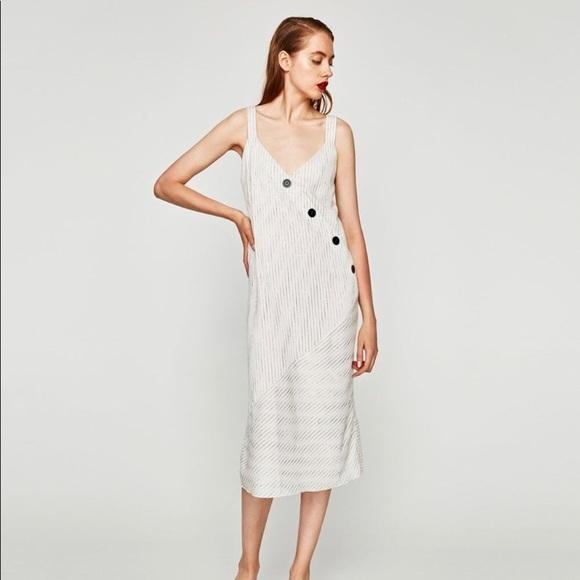 da77af05c13 NWT Zara Stripe Midi Dress with Buttons